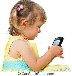 kleines mädchen, smartphone., spielende