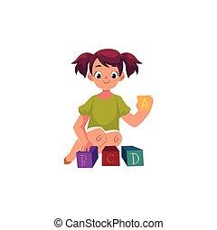 kleines mädchen, spielende , mit, spielzeug, alphabet, abc, blöcke