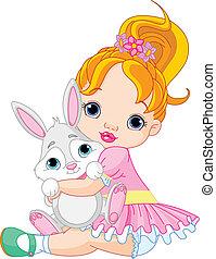 kleines mädchen, umarmen, spielzeug, kaninchen