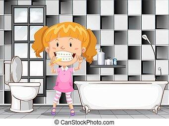 Kleines Mädchen, Zähneputzen , In, Badezimmer