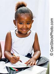 kleines mädchen, zeichnung, afrikanisch, crayons.