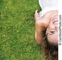 kleingarten, entspannend, hübsch, begrifflich, porträt, dame
