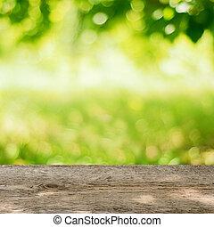 kleingarten, hölzern, hell, grüner hintergrund, tisch, leerer