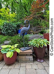 kleingarten, hinterhof, japanisches , design, gartengestaltung