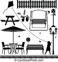 kleingarten, hof, feld, park, draußen
