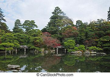kleingarten, zen, japanisches , herbst, friedlich, teich