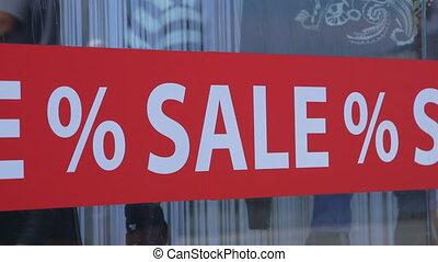 kleinhandelswinkel, raam plakker, verkoop, %