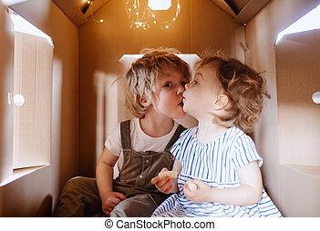 kleinkind, haus, zwei, spielende , innen, pappe, kissing., kinder, daheim