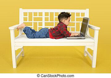 kleinkind, laptop
