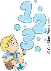 kleinkind, mit, 123, blasen