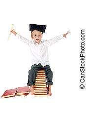 kleinkind, reizend, kappe, diplom, studienabschluss