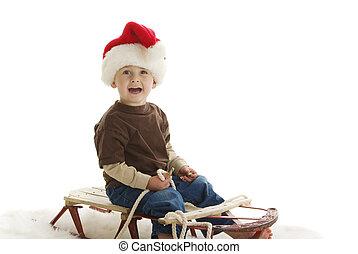 kleinkind, santa, clipart kinderschlitten