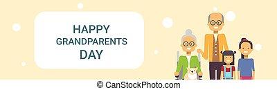 kleinkinderen, grootouders, groet, samen, grootvader, grootmoeder, spandoek, dag, kaart, vrolijke