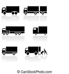 kleintransport, symbol, vektor, lastwagen, oder, set.