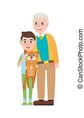 kleinzoon, pluizig, kat, opa, holdingshanden