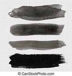 kleks, cielna, zbiór, czarne tło, przeźroczysty