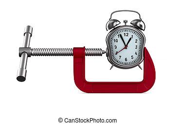klem, en, horloge, op wit, achtergrond., vrijstaand, 3d,...