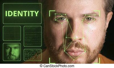 klem, identificeren, systeem, verwant, gezicht, computer,...