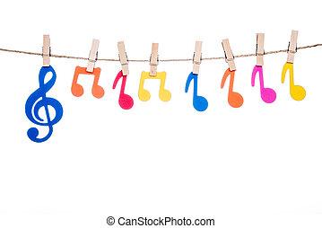 klem, op, een, twijn, hangend, kleurrijke, muziek symbool