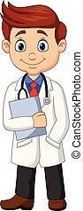 klembord, mannelijke , spotprent, vasthouden, arts