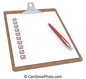klembord, met, controlelijst, x, tien, en, pen.