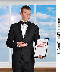 klembord, met, verkoop