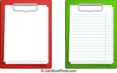klembord, paper., illustratie, vector, base, leeg, witte