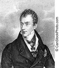 Klemens von Metternich (1773-1859) on engraving from 1859....