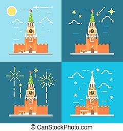 Klemlin clock tower flat design