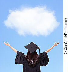 klemme, tilbage, graduere, fremtid, student, pige, udsigter