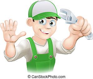 klempner, oder, mechaniker, mit, schraubenschlüssel