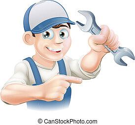 klempner, oder, mechaniker, zeigen