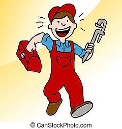 klempner, werkzeugkasten, rennender , maulschlüssel