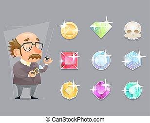 klenotník, valuer, odhadce, kvalita, revidovat, postup, ikona, dát, za, karikatura, design, proměnlivý, hra, vektor, ilustrace