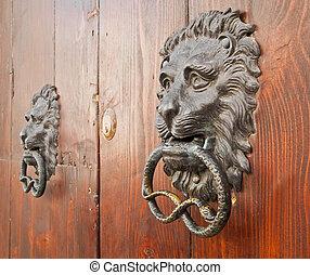 klepadla, starobylý, dveře, portal.