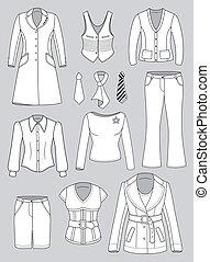 kleren, bovenzijde, vrouw, directeur, collectio