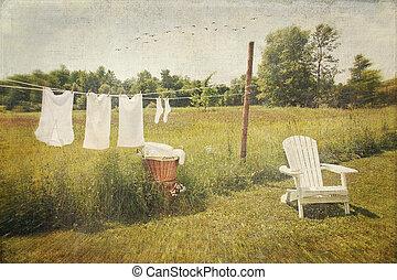 kleren, drogen, wassen, lijn, katoen, witte