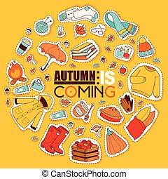 kleren, items, vieren, regenachtig, herfst, kaart, goud, spandoek, blad, symbolen, geneesmiddelen, verwant, time., herfst, autumn., paraplu, regen, koude, vrolijke , gele, gebladerte, tijd