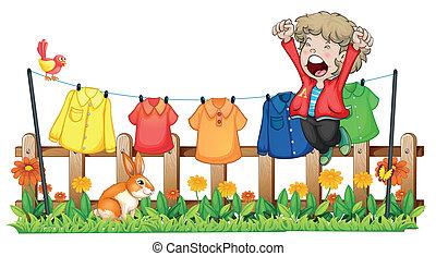 kleren, jongen, springt, jonge, hangend