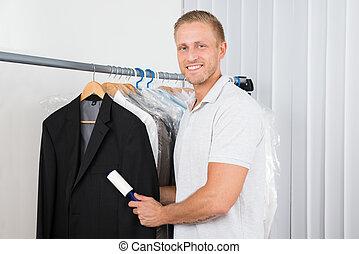 kleren, pluisje, rol, winkel, man