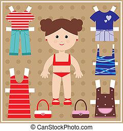 kleren, pop, papier, set