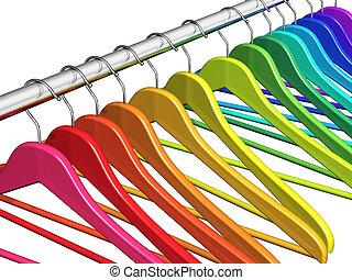 kleren, regenboog, hangers, bevestigingslijst, jas