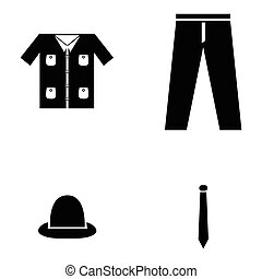 kleren, set, pictogram