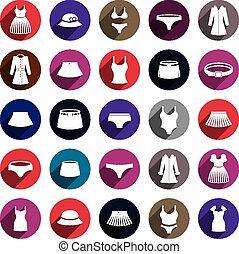 kleren, set., vector, pictogram, vrouw