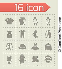 kleren, vector, set, pictogram