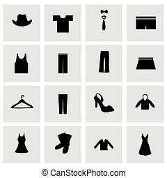kleren, vector, set, pictogram