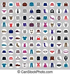 kleren, vector, verzameling, iconen