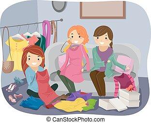 kleren, verwisselen
