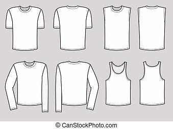 kleren, voor, mannen, illustration., vector, kleding