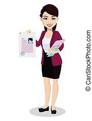 kleren, vrouw, kantoor, zakelijk, aziaat
